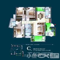 鸿盛名邸C户型 3房2厅2卫